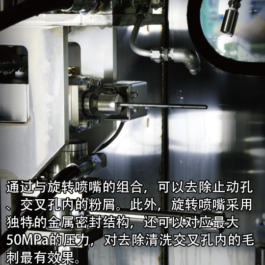 通过与旋转喷嘴的组合,可以去除止动孔、交叉孔内的粉屑。此外,旋转喷嘴采用独特的金属密封结构,还可以对应最大50MPa的压力,对去除清洗交叉孔内的毛刺最有效果。