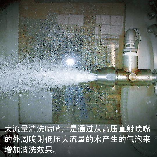 大流量清洗喷嘴,是通过从高压直射喷嘴的外周喷射低压大流量的水产生的气泡来增加清洗效果。