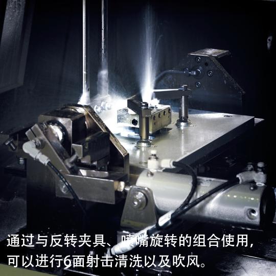 通过与反转夹具、喷嘴旋转的组合使用,可以进行6面射击清洗以及吹风。
